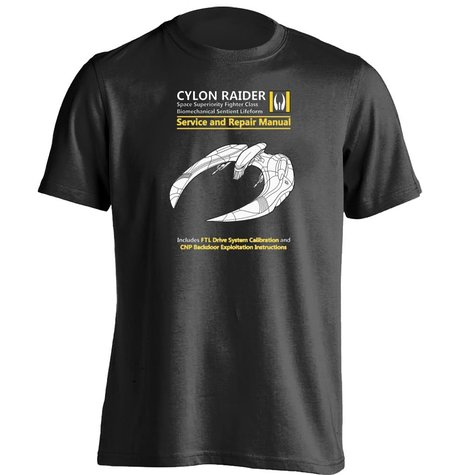 Cylon Raider Service And Repair Manual Battlestar Galactica Unisex Design T Shirt(China (Mainland))
