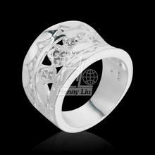 Women New Fashion Natural Crystal 925 Solid Sterling Silver Round Ring Fashion Jewelry Size 7 8
