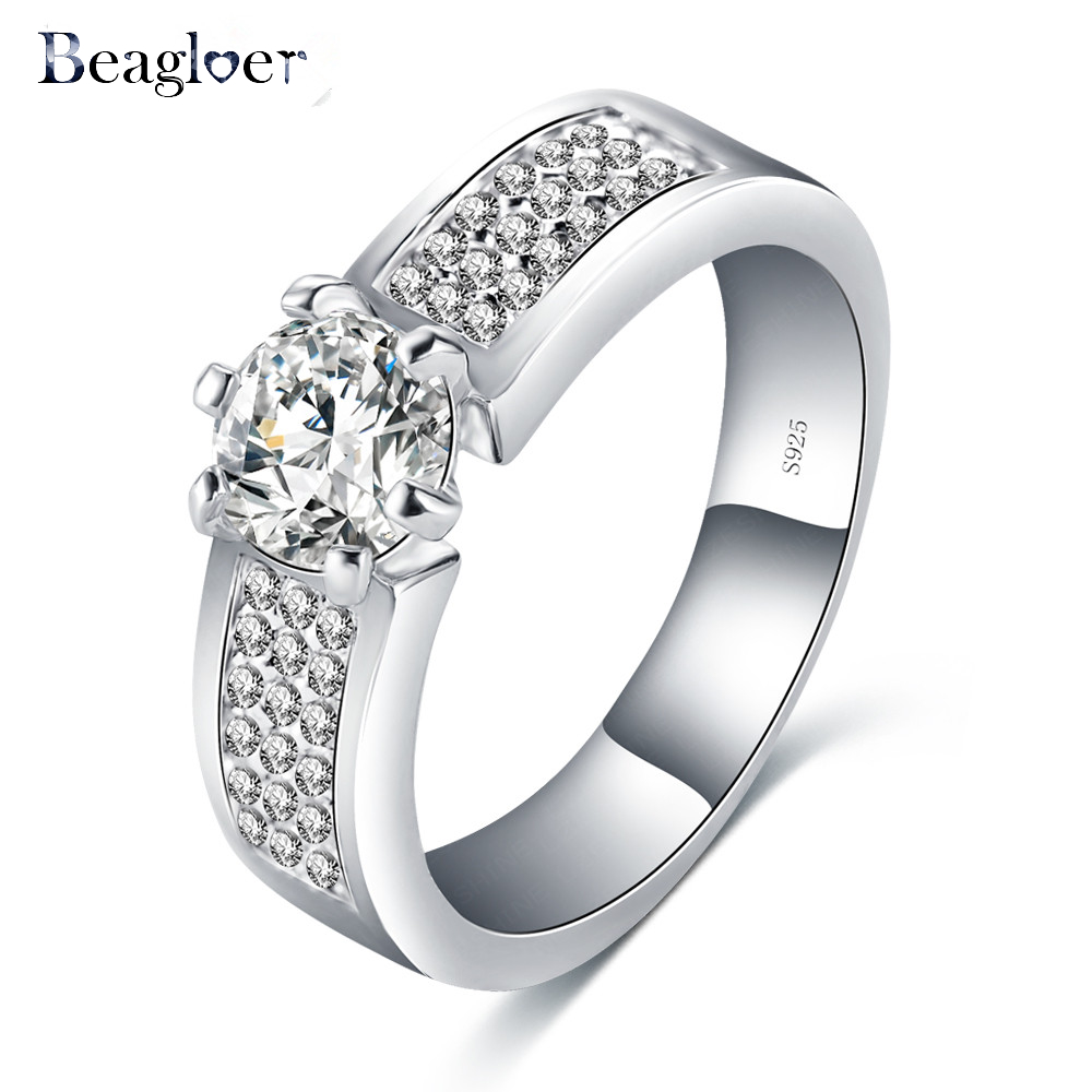 Beagloer S925 Luxury Women Unique Rings Bijoux Hearts and Arrows Cubic Zirconia Inlayed Charming Wedding Rings BRI0262-B(China (Mainland))