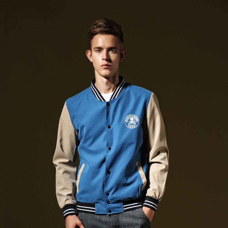 2015 Mens Varsity Jackets Baseball College Skull Coats New Student Sports Coat Men Clothing Men Jackets stand collar(China (Mainland))