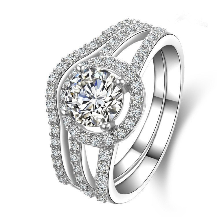 New 2CT Solid 18K White Gold Certify Moissanite Engagement Ring With Band Women Moissanite Wedding Ring Never Fade Or Discolor(China (Mainland))