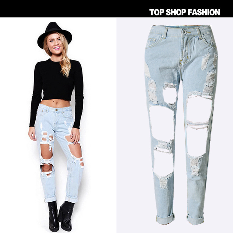 Black Ripped Jeans Women American Apparel Hole Hollow Out Loose ...