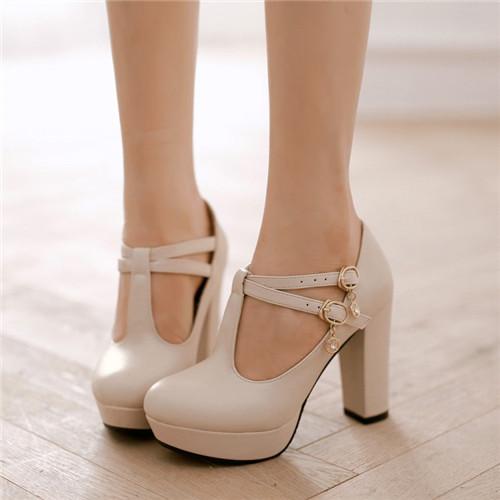 Plus Size NEW Elegant Womens Round Toe T-Strap Lolita Pumps Court Platform Square High Heel Shoes Eur35-43 - Shop639677 Store store