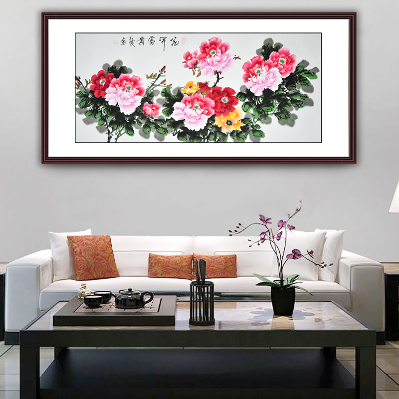 hand-painted peony flower painting Chinese traditional watercolor fengshui art scroll painting home decoration diplomatic gift(China (Mainland))