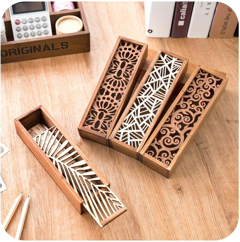 Hollow Wood Pencil Case Storage Box Wooden Box Pencil Case School Gift(China (Mainland))