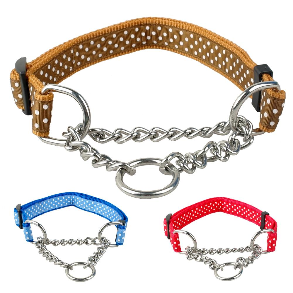 "1.0"" Wide Dots Print Nylon Dog Pet Choke Chain Training Collar All Colors 16-29"" Adjustable(China (Mainland))"