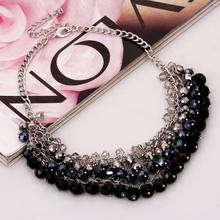 Black Rhinestone Sexy Lady Wearing A Long Section Of the Classic Style Round Crystal Pendant Necklace