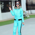 2016 winter lady down jacket two piece down jacket pants with thick hooded solid color