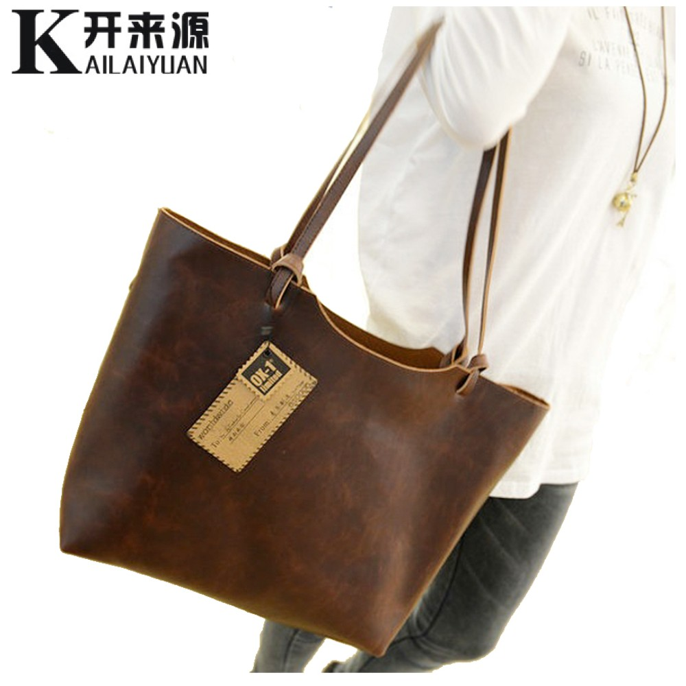 KLY 100% Genuine leather Women handbags 2017 New design women handbags vintage women shoulder bags large tote brown women bags(China (Mainland))