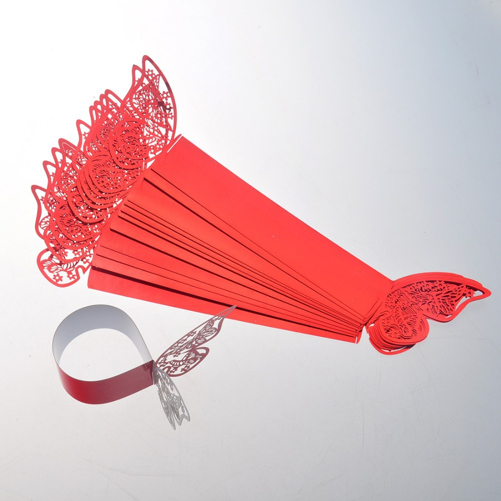 Free Shipping 50pcs lot Red Butterfly Design Table Paper Napkin Rings For Wedding Party Decoration Porta