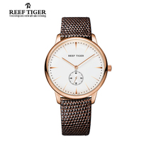 Reef Tiger/RT Rose Gold Ultra Thin Quartz Watches For Women Rose Gold Watches with Stingray Leather Strap Watch RGA820