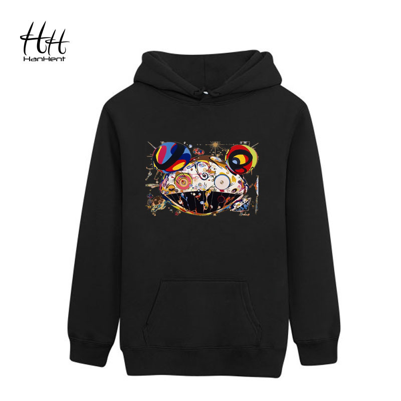 HanHent High Quality Men's Rock Hip Pop Band Hoodie Animal Fashion Cat Clothing Rock Popper Band Cotton Black Summer Sweatshirts(China (Mainland))