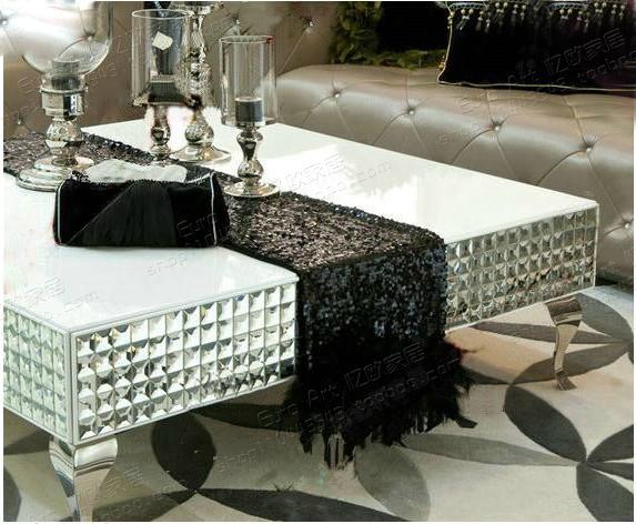 living room furniture stainless steel mirror glass coffee table