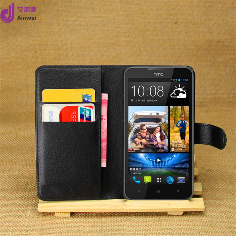 Ainwei Brand High Quality Case For HTC Desire 516/316 Wallet Style PU Leather with Stand Function and Card Holder