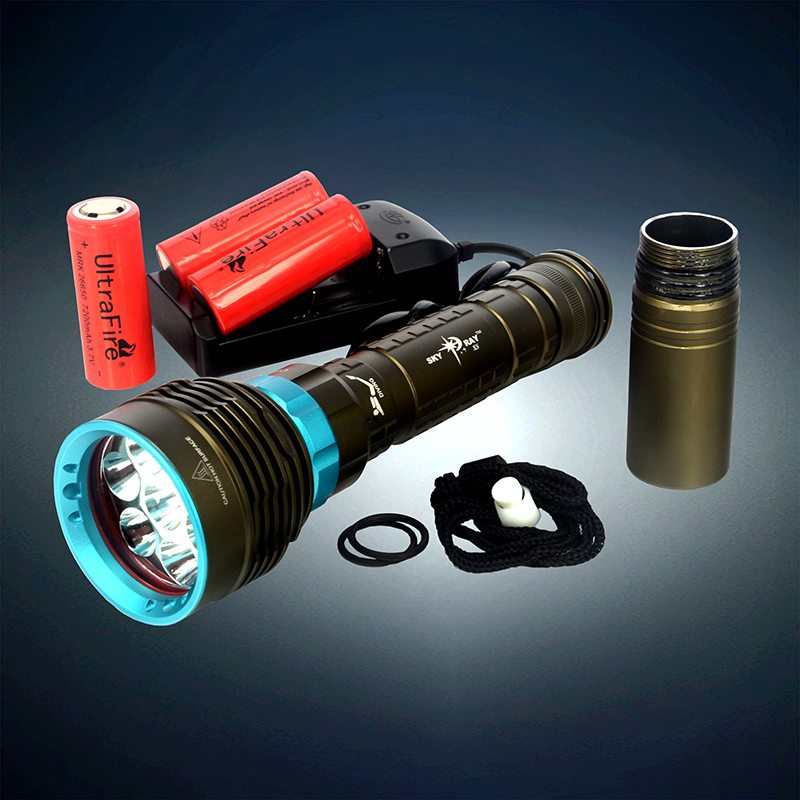 9000 LM CREE XM-L2 LED Diving Flashlight Torch Lamp Waterproof + 3pcs 26650 /18650 Battery &Charger