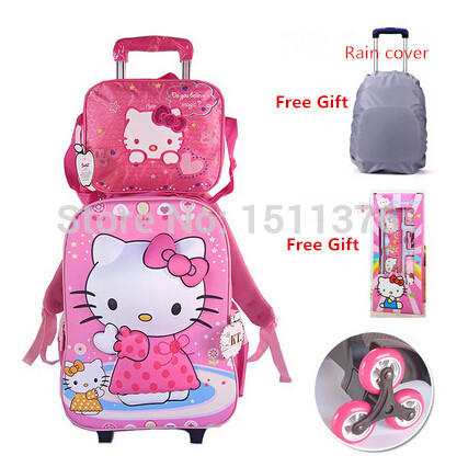 Trolley Bag Backpack school bags mochila infantil 3D pattern hello kitty grades 1-6 stairs three wheels girls - Friday's Store store