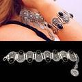 2016 Winter Carve Bohemian Bracelet Vintage Black Gem Bracelets Geometric Exaggerated Gros Bracelet Femme Fashion Jewelry