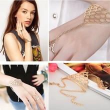 Wholesale 12X Fashion Body Chain Metal Sexy Women Bracelet Wrist with Ring Chain Jewelry Free Ship