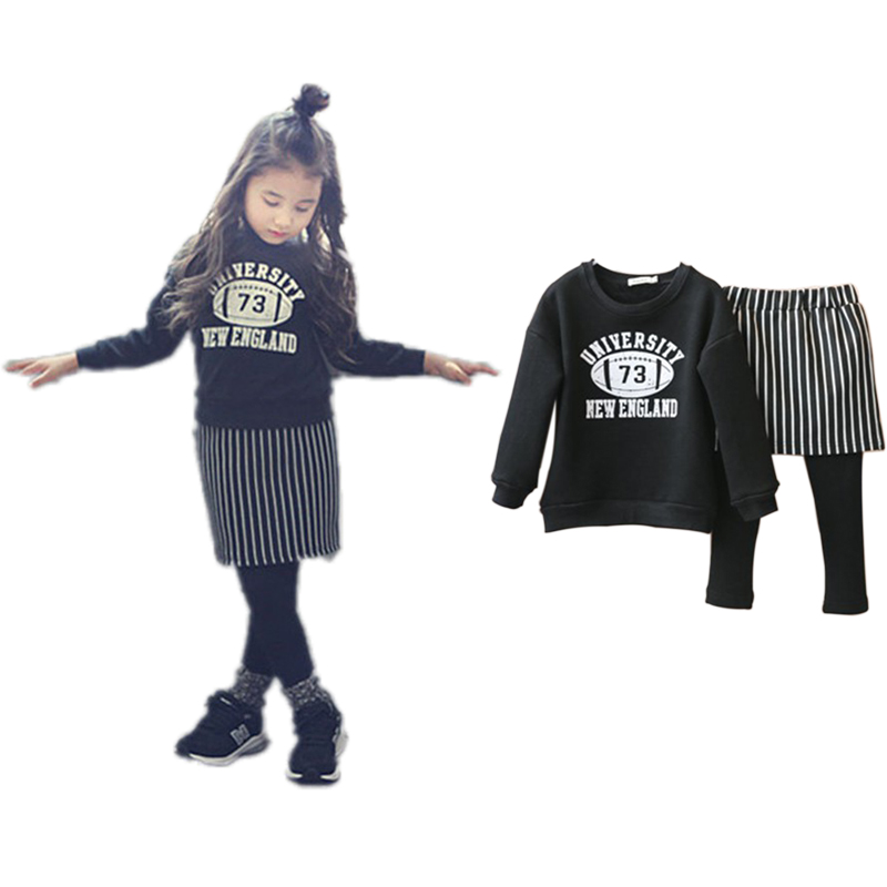Autumn Winter Fashion Girls Set with Warm Fleece Rugby Print T-shirt Stripped Skirt Leggings Dress Suit Kids Clothes Baby Gift(China (Mainland))