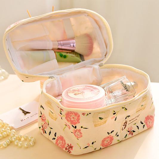 2015 new small fresh garden Floral Storage bag, cute bag, bucket bag, travel bag finishing(China (Mainland))