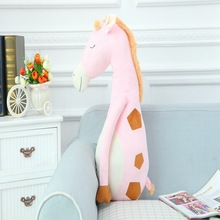 new creative gift plush cartoon giraffe pillow round belly giraffe doll about 80cm