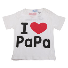 95 cotton children s clothing boys and girls I love Mom and Dad round neck short