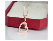 Heart-shaped rhinestone necklace titanium steel rose gold jewellery 1pc(China (Mainland))