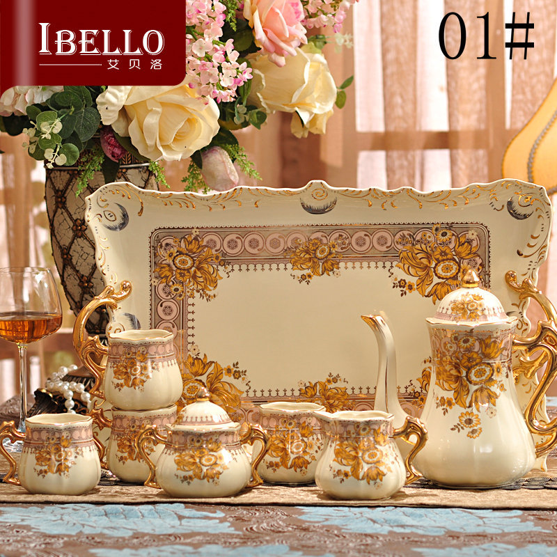 European royal style high quality ceramic coffee sets afternoon tea sets coffee pot coffee cup and