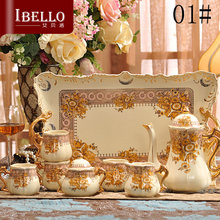 European royal style high quality ceramic coffee sets afternoon tea sets coffee pot coffee cup and Coffee tray set