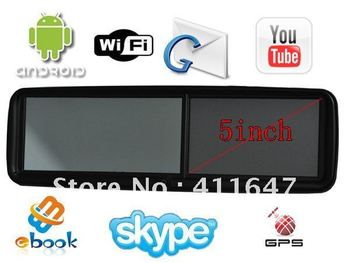 "5"" Car Rearview Mirror with GPS ,Android 4.0,wifi, HD screen ,google map + 4GB TF Card,1080P DVR"