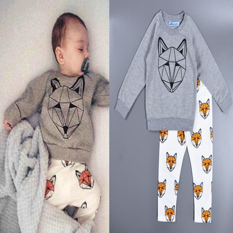 Bobo Choses boys girls clothing sets Cartoon baby boys girls clothes Animal printed T-shirt + pants Christmas gift vetement(China (Mainland))