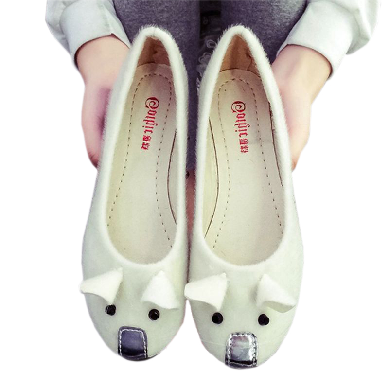 Newarrival Design Cute Mouse Shoes for Women Free Shipping Fashion Office Party Woman Flats 2016 Walking Footwear for Girls(China (Mainland))