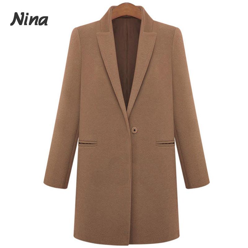 Abrigos Mujer 2014 Fashion Long Sleeve Women's Blends Coats Warm Fall Winter Ladies Wollen Overcoat 9916