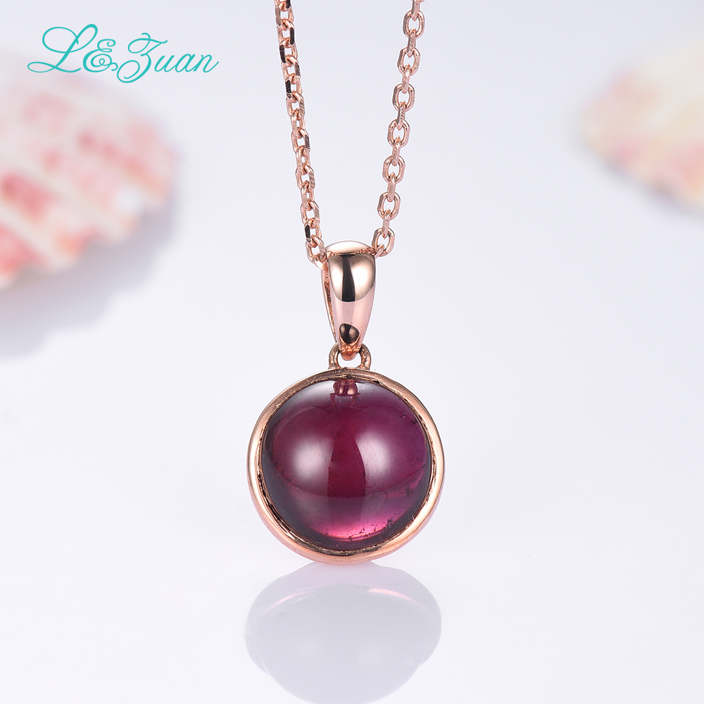 l&zuan 925 Sterling Silver Natural 5.41ct Garnet Red Stone Necklace & Pendant For Woman Gift With Silver Chain