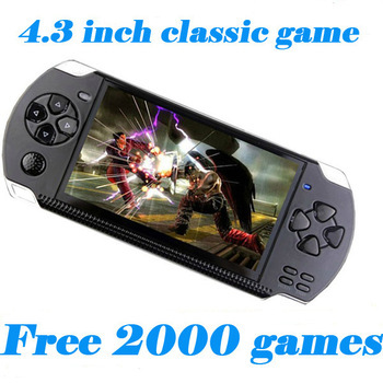 Free Shipping 4GB/ 8GB Video Game Console 4.3 inch MP4 MP5 Players Handheld Game Player free 2000+games ebook/FM/1.3 MP Camera(China (Mainland))