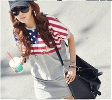 Free Shipping new 2015 Women Clothing USA flag short sleeve T-shirts women Tops dresses Hot!!(China (Mainland))