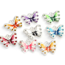 Buy Wholesale Zinc Alloy 10pcs/lot Enamel Animal Butterfly Pendant Charms Jewelry Making Findings 21x21mm for $2.25 in AliExpress store