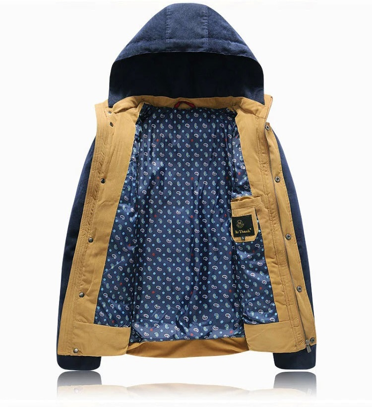 2015 New Korean Style Teen Thick Cotton Patchwork Coat Warm Winter Clothes Padded Jacket Men XXXL