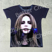 Track Ship+Vintage Retro Cool Rock&Roll Punk T-shirt Top Tee Singer Lana Del Rey Bleeding with Blue Rose Lizzy Grant 0798(Hong Kong)