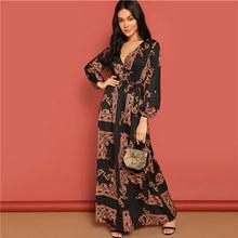 COLROVIE женский шарф с v-образным вырезом и поясом, Повседневное платье 2019, весенние вечерние платья макси с длинным рукавом, платья для отдыха(China)