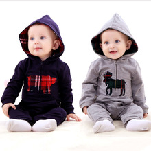 Infant baby boy clothing spring British style baby romper Jumpsuit hooded climb clothes baby clothes