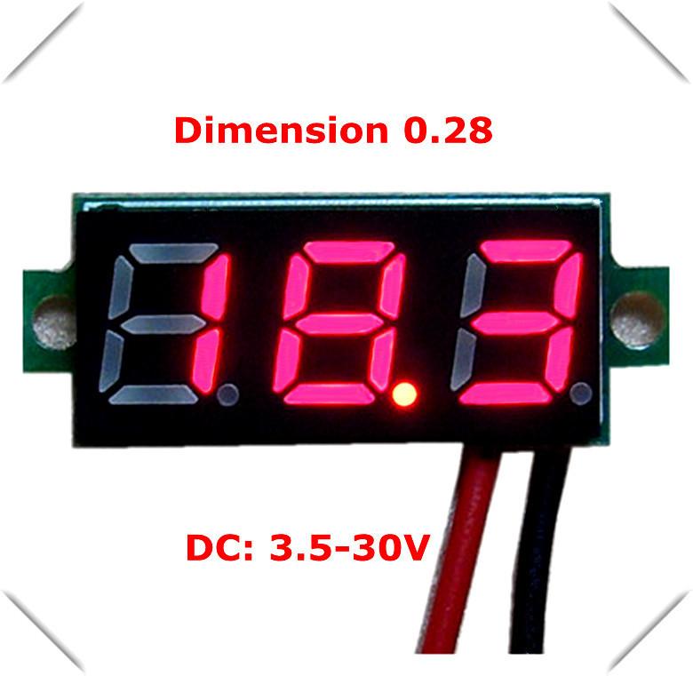 """300 pcs Smart home sensor Wholesale 0.28"""" Mini Digital Voltmeter DC3.50-30V 3 bit Car Voltage Panel Meter led Display Color(China (Mainland))"""