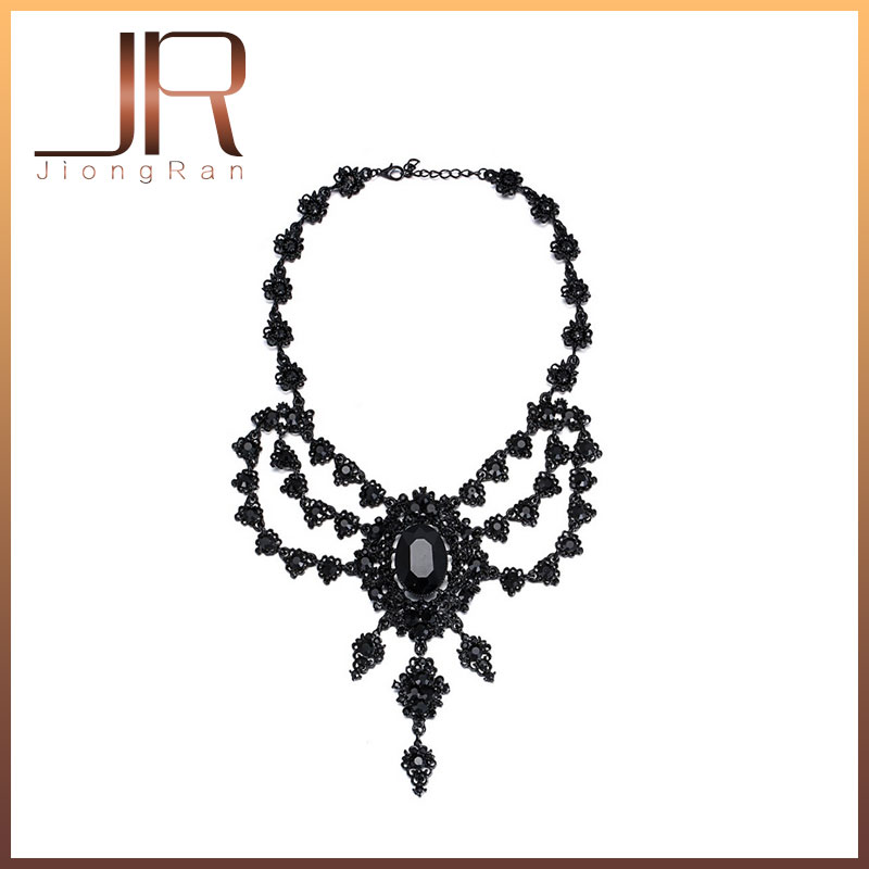New Vintage Punk Necklace White Black Glass Crystal Statement Collar Choker Necklaces Pendants For Women Jewelry Accessories<br><br>Aliexpress