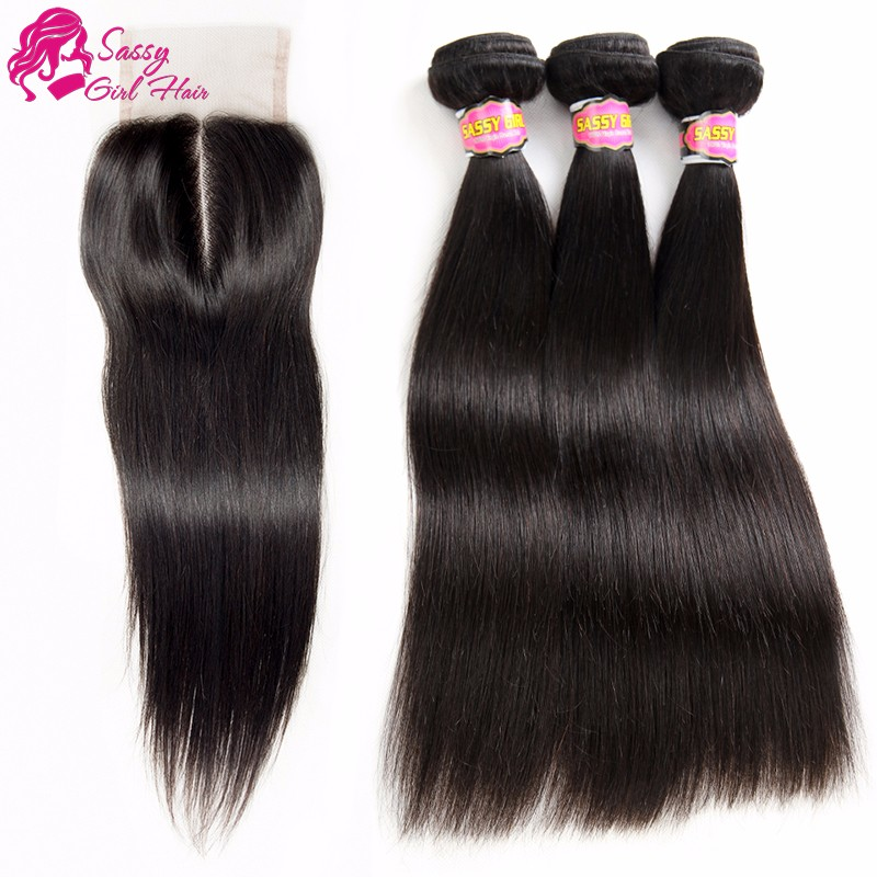 7a Brazilian Straight Virgin Hair With Closure Tissage Bresilienne Avec Closure 4*4 3 Part Closure With Bundles Brazillian Hair