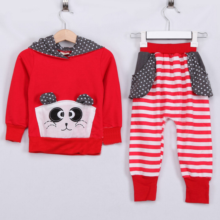 2015 autumn great hippopotami girls clothing baby casual sports set A0371(China (Mainland))