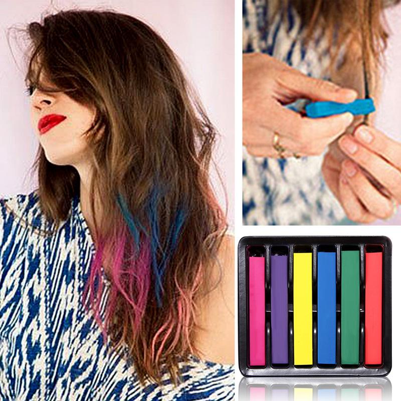 Beauty 6 PCS Convenient Temporary Super Hair Dye Colorful Chalk G#J6