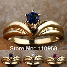 Women's Crown Shape Round Red Ruby Blue Sapphire White Diamonds 24K Gold Filled Ring R111 NAL GFL Size 6 7 8 J8082 Gift For