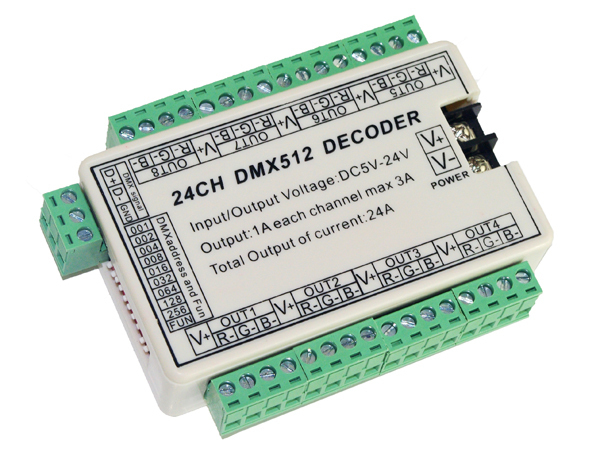 best price 1 pcs 24CH dmx 512 led decoder controller use for led strip(China (Mainland))