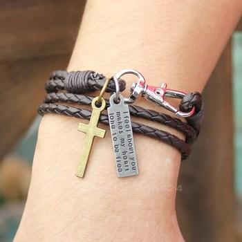 Повязки пряжка ключ узор кожа браслет коричневый крестики браслет для человека