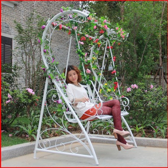 Home interior and exterior wrought iron patio lounge chair rocking white hanging chair outdoor garden terrace Double Swing(China (Mainland))